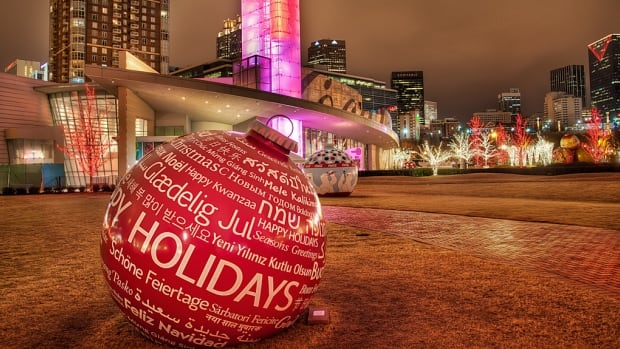 "The Coca-Cola headquarters in Atlanta, GA displays a multi-cultural seasonal greeting. Choosing to wish people ""Happy Holidays"" instead of ""Merry Christmas"" will be up for debate at the Port Moody Public Library tonight."