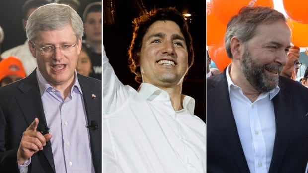 Stephen Harper strictly limits questions at any given campaign event, while Justin Trudeau and Tom Mulcair take more open approaches.