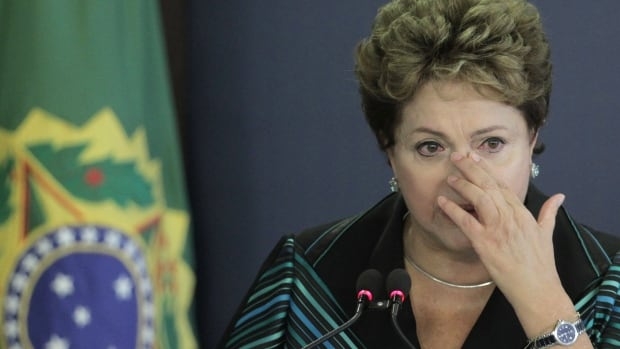 Brazil's President Dilma Rousseff cries during a speech at the launching ceremony of the National Truth Commission Report, at the Planalto Presidential Palace, in Brasilia, Brazil, on Wednesday.