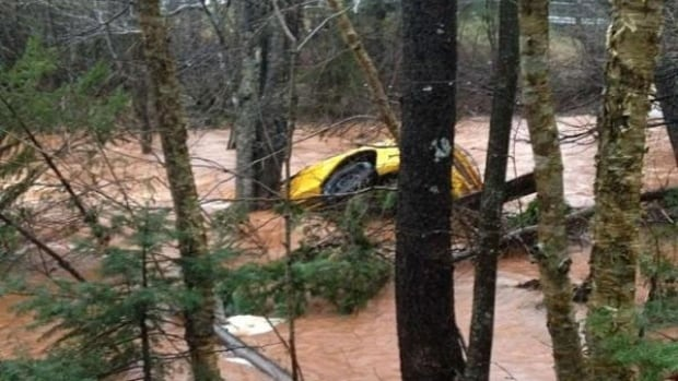 A car ended up in the water after a bridge gave way on Boulter Road in western P.E.I.