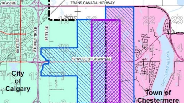 With Calgary and Chestermere now butting up against each other, the two municipalities have worked out a draft agreement for co-operating on development issues of interest to both. The interface area is represented in purple.