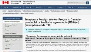 Temporary Foreign Worker Program exemption for Microsoft