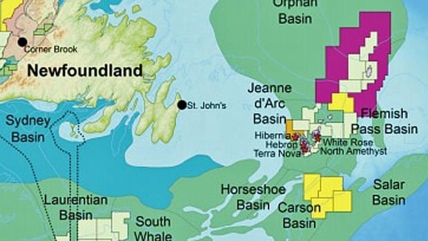 The Canada-Newfoundland and Labrador Offshore Petroleum Board has released the results of the latest call for bids for exploration rights in Newfoundland's offshore. The six parcels are shown in yellow and orange in the Jeanne d'Arc Basin, the Carson Basin and the Flemish Pass.