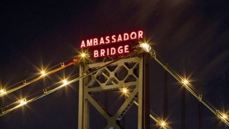 Ambassador bridge lights up close
