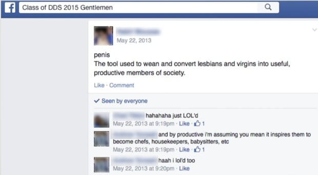 Dalhousie dentistry misogynistic Facebook post