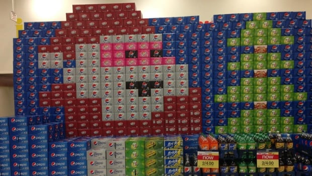 This Christmas display created using cases of canned pop at Trevor's Your Independent Grocer in Yellowknife was dismantled at the request of the Workers Safety and Compensation Commission of the N.W.T.