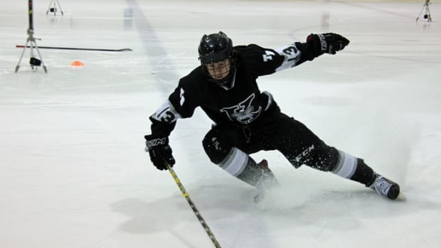 Maxime Fortin, a player on Thunder Bay Kings, a minor midget hockey team, completes NEXT testing at RIM Park on December 11. The testing, by Guelph's Hockey Tech, measures speed and agility with computer sensors for accuracy.