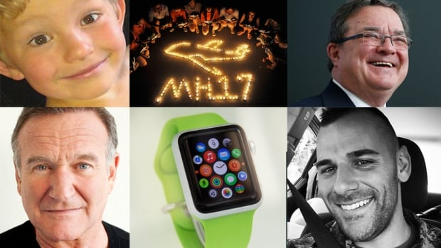 The most-read stories of 2014 at CBC.ca included (clockwise from top left): the Nathan O'Brien case; the MH17 disappearance; Jim Flaherty's death; Robin Williams's suicide; the iWatch; and the Ottawa shooting, which killed Cpl. Nathan Cirillo.