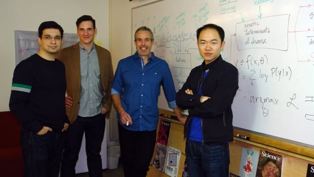 The team, led by Prof. Brendan Frey, third from the left, uses 'deep learning' computer technology to read the three billion characters that represent the genome, which was first sequenced in 2003. Team members also pictured left to right, are: Babak Alipanahi, Hannes Bretschneider and Hui Xiong.
