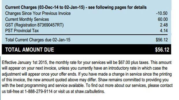 shaw internet bill