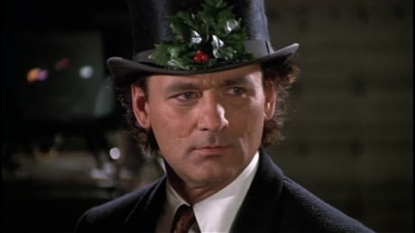 Bill Murray in the holiday spirit in the film Scrooged.