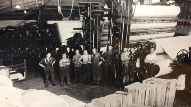The paper mill in Iroquois Falls was opened in 1912 and the town was built around it. This shot is from the 1920s. The original paper machine, known as Number 1, was in production for over a century.