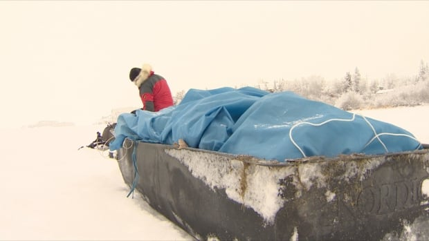 David Arbeau left Yellowknife Monday for a two week, 200 km journey across Great Slave Lake to Hay River. He'll spend Christmas and New Year's on his own, but says 'I really enjoy these types of trips.'