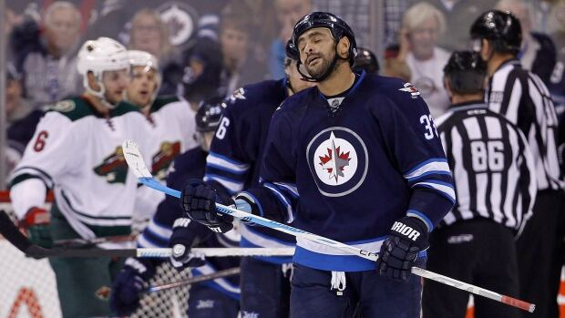 Winnipeg Jets' Dustin Byfuglien appears frustrated during first period play against the Minnesota Wild on Dec. 29.