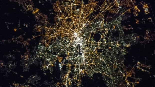 Berlin is seen at night from the International Space Station.
