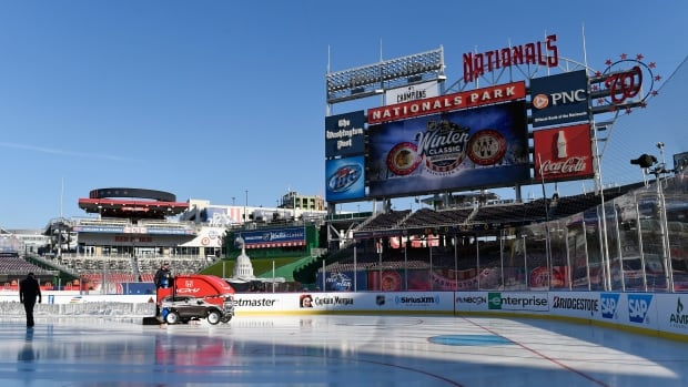 Final preparations are made at Nationals Park for the Winter Classic outdoor NHL hockey game to be held on New Year's Day. The Washington Capitals are scheduled to play the Chicago Blackhawks.