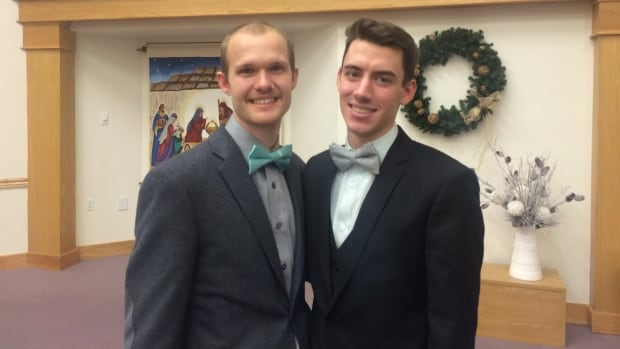 Craig Friesen, left, and Matt Wiens, right, were married by the pastors of Nutana Mennonite Church (where they currently attend) in Osler Mennonite Church, the church Friesen grew up attending.