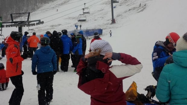 This photo tweeted by @dbiffster shows skiers at Mont Ste. Marie ski resort in western Quebec on Jan. 3, 2015, the same day the chairlift broke down.
