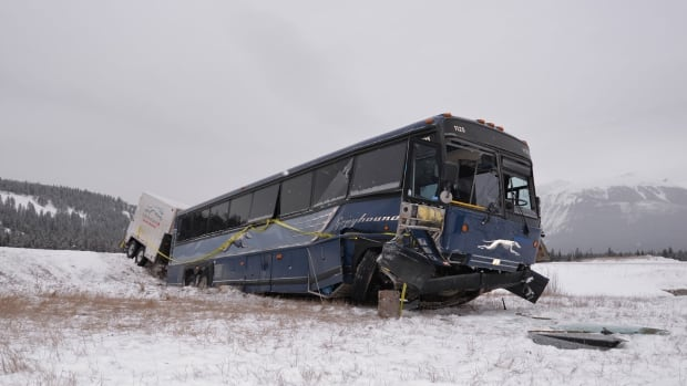 Police say the bus left the road on Highway 16, sending some passengers to hospital in Jasper.
