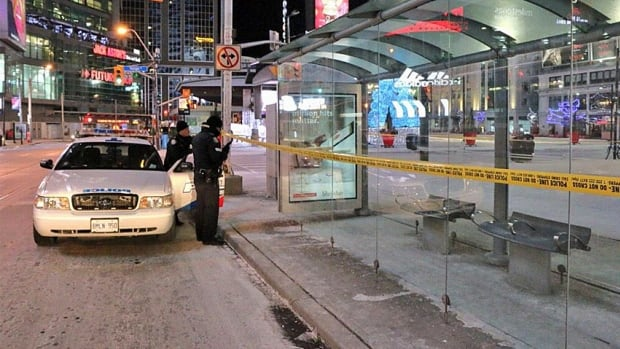 A man was taken to hospital without vital signs after he was found unconscious at this bus shelter at Yonge-Dundas Square. Police say he was not dressed for last night's freezing temperatures.
