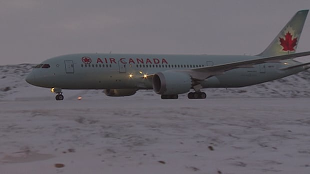 A Boeing 787 Dreamliner with an Air Canada logo arrived in Iqaluit Jan. 5 for cold weather testing.