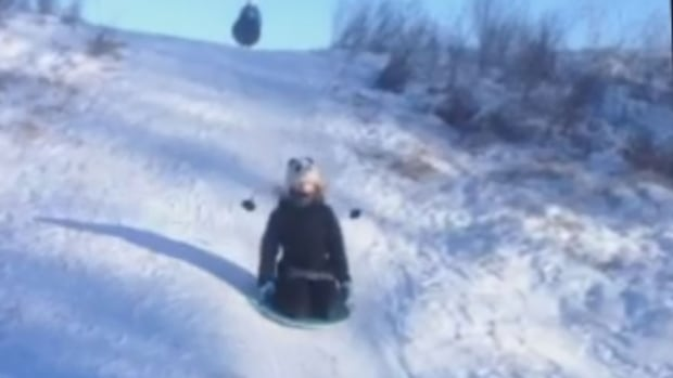 A toboggan run in Saskatchewan.