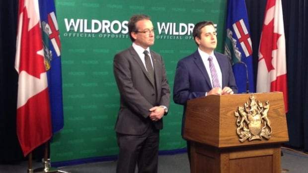 Wildrose MLAs Drew Barnes (left) and Shayne Saskiw called on Premier Jim Prentice to honour the 2016 fixed election date.
