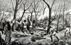 Battle at Cut Knife Hill. Drawing, 1885