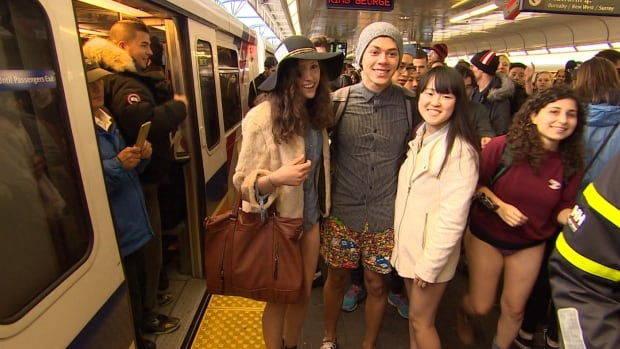 No Pants SkyTrain Ride in Vancouver has grown from 20 brave people in 2009 to more than 400 in 2014.