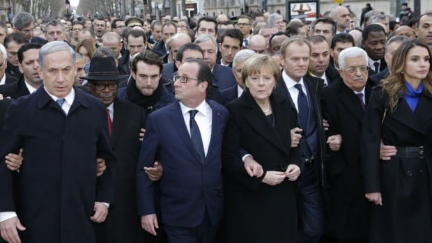 World leaders, including (from left) Israel's Prime Minister Benjamin Netanyahu, Mali's President Ibrahim Boubacar Keita, France's President Francois Hollande, Germany's Chancellor Angela Merkel, EU President Donald Tusk, and Palestinian President Mahmoud Abbas march during a rally in Paris, France, Sunday.