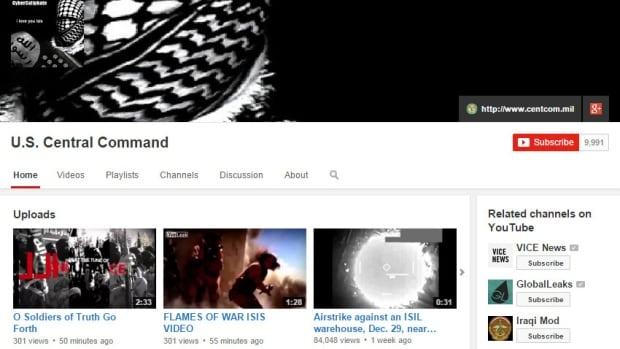 This screengrab shows the hacked YouTube page for U.S. Central Command. The account was disabled shortly after it was hacked.