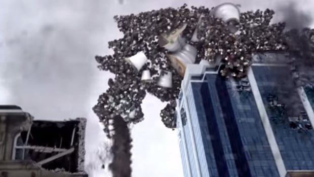 The video shows this monster, made of K-Cups, bent on destroying a city.