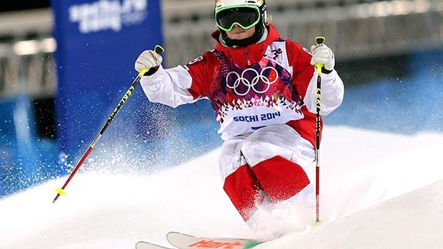 Canadian freestyle skier Chloe Dufour-Lapointe competes at the 2014 Olympics in Sochi, Russia. Quebec City's mayor, Régis Labeaume, says he has had discussions with his counterparts in Calgary, Vancouver and Lake Placid about sharing events at the 2026 Winter Olympics.