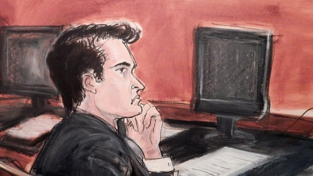 Ross William Ulbricht, seen in this courtroom sketch from his criminal trial in New York, was convicted of seven drug and conspiracy counts after a short deliberation. Prosecutors argued that under Ulbricht, Silk Road enabled more than one million drug deals.
