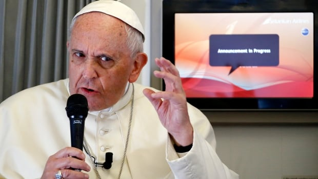 When asked for his take on the Charlie Hebdo attacks, Pope Francis told journalists that people should not mock religion.