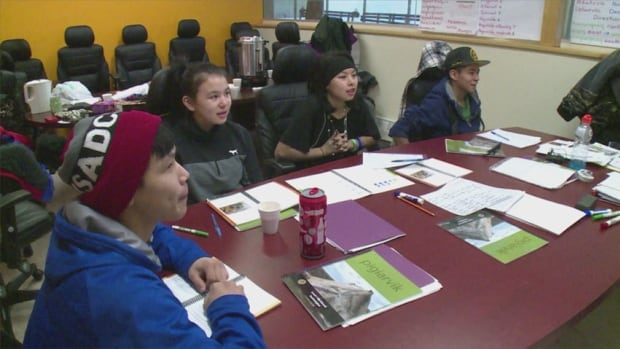 Youth in Kugluktuk, Nunavut, attend a class in Inuinnaqtun run by the Kitikmeot Inuit Association. The association is offering courses to get youth in the region learning and using Inuit languages, in an effort to keep them alive.