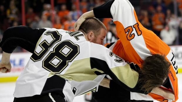 The Philadelphia Flyers and Pittsburgh Penguins were not shy about dropping the gloves at Wells Fargo Center on Tuesday.