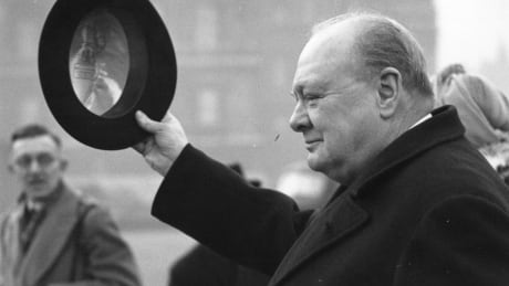 Winston Churchill at Horse Guards Parade in London