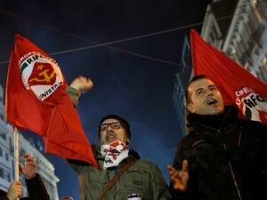 Ιταλικά υποστηρικτές της αριστεράς ΣΥΡΙΖΑ αντιδρούν μετά από δημοσκόπηση εξόδου αποτελέσματα στην Αθήνα, στις 25 Ιανουαρίου, 2015. Ένας ανώτερος υπάλληλος που διέπουν συντηρητικοί Ελλάδα έχει παραδέχτηκε την ήττα του στο κόμμα του ΣΥΡΙΖΑ στις εθνικές εκλογές.  «Χάσαμε», ο υπουργός Υγείας Μάκη Βορίδη είπε ιδιωτικό τηλεοπτικό σταθμό Mega.  «Η έκταση της εν λόγω αποτέλεσμα δεν είναι ακόμη σαφές.»
