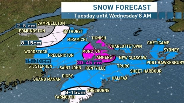 Kalin Mitchell, a CBC meteorologist says snow will begin to fall along the Bay of Fundy coastline between 6 a.m. and 8 a.m. Tuesday.