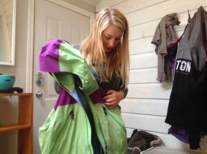 Julie Abrahamsen wet snowboarding gear
