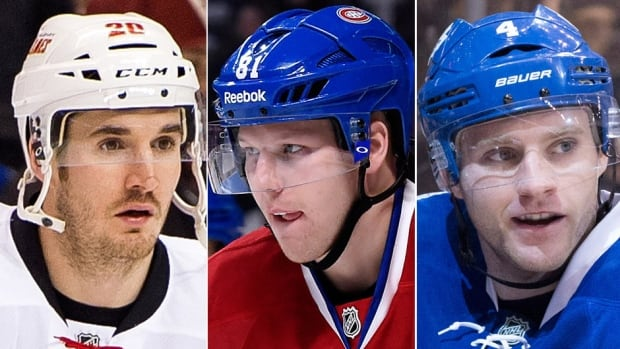 The NHL's trade deadline is March 2 at 3 p.m. ET. The seven Canadian squads were involved in 16 moves in the five weeks ahead of last year's deadline. What's in store for this year? Maybe Calgary moves Curtis Glencross, left, Montreal deals Lars Eller, middle, and Toronto trades Cody Franson, right.