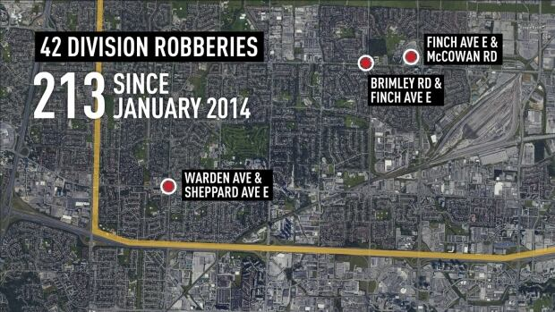 Police say street robberies in north Scarborough often occur near transit and shopping centres, most notably around Finch Avenue East between McCowan and Markham roads.