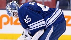 Leafs' Jonathan Bernier allows goal from beyond centre