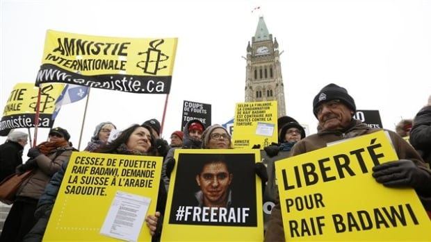 Ensaf Haidar (centre), the wife of Raif Badawi, protested on Parliament Hill for the release of the jailed Saudi blogger.