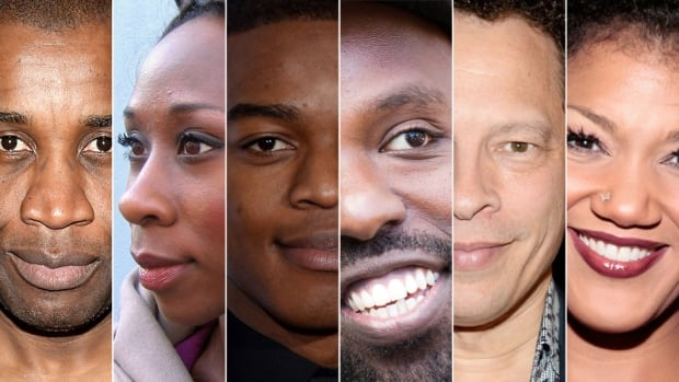 This composite shows famed Canadian culture-makers, from left to right: filmmaker Clément Virgo, novelist Esi Edugyan, actor Stephan James, musical artist Shad, author Lawrence Hill and soprano Measha Brueggergosman.