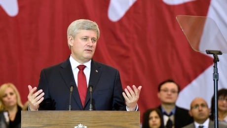Prime Minister Stephen Harper unveils the details of his government's latest bid to boost the anti-terror powers of Canada's law enforcement and intelligence agencies during an appearance at a Richmond Hill, Ont., community centre.