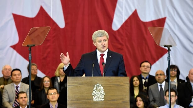 Prime Minister Stephen Harper announces newly tabled anti-terrorism legislation, which includes provisions to 'remove terrorist propaganda' from the internet.