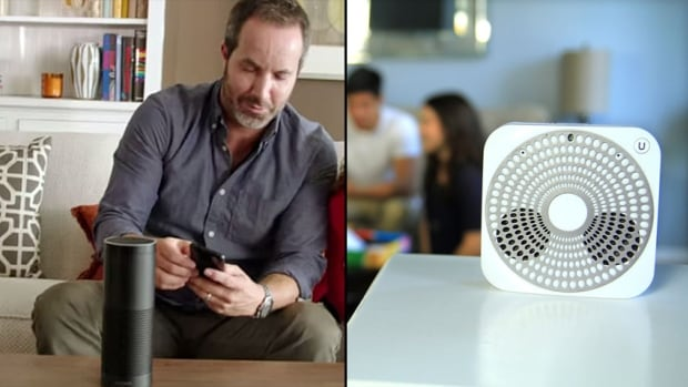 Amazon's Echo, left, a cylindrical device that acts as a voice-activated personal assistant, is competing against a Toronto tech startup that created the Ubi, which was backed in part by $229,594 in Kickstarter funding.