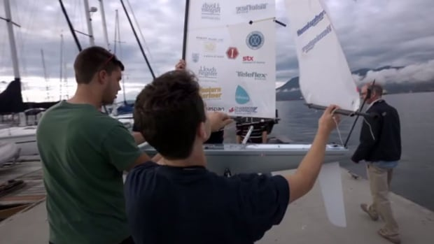 A team of UBC engineering students is hoping to make history this August by sailing a 5.5 metre robotic sailboat across the Atlantic Ocean. The sailbot seen here is an earlier smaller model used in the student team's international regatta competitions.